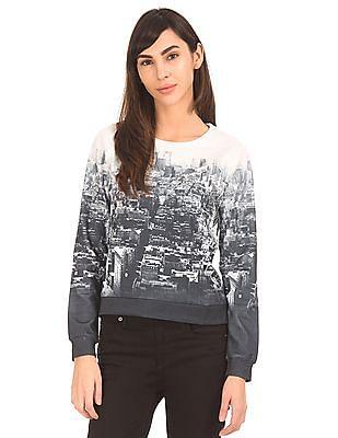 Elle Printed Raglan Sleeve Sweatshirt
