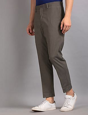 True Blue Brown Slim Fit Cropped Trousers