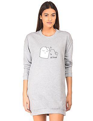 SUGR Printed Front Sweatshirt Dress