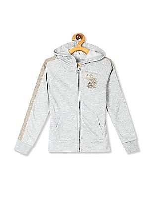 The Children's Place Grey Girls Active Embellished Graphic Fleece Zip Up Hoodie