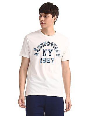 Aeropostale White Brand Applique Crew Neck T-Shirt