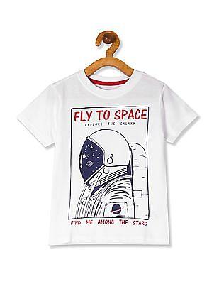 Cherokee White Boys Printed Crew Neck T-Shirt