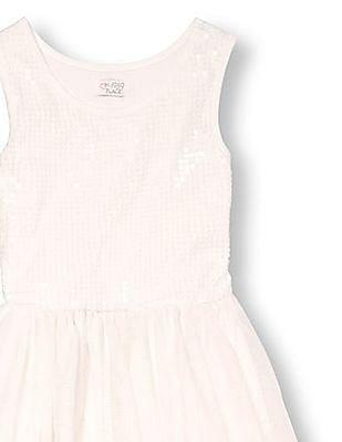 The Children's Place Girls White Sleeveless Sequined Tutu Dress