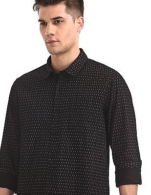 Ruggers Black Mitered Cuff Printed Shirt