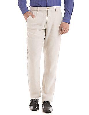 Arrow Sports Slim Fit Linen Trousers