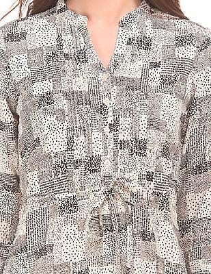 Cherokee Tuck Front Printed Shirt Dress