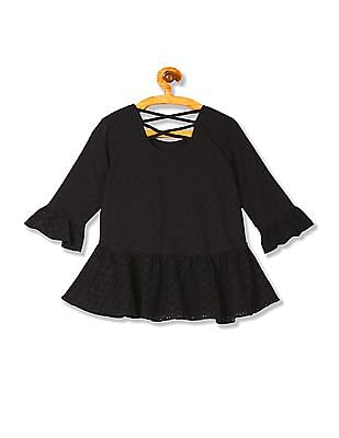 U.S. Polo Assn. Kids Girls Round Neck Patterned Weave Peplum Top