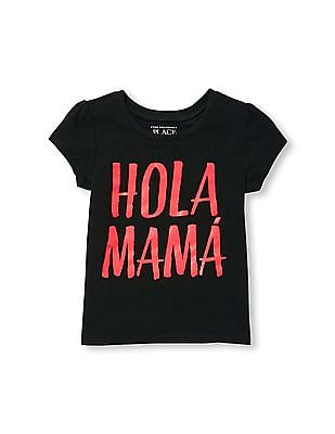 The Children's Place Toddler Girl Short Sleeve Glitter 'Hola Mama' Graphic Tee