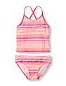 The Children's Place Girls Strappy Back Striped Tankini