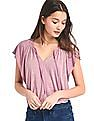 GAP Women Pink Drapey Flutter Sleeve Top