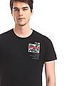 Flying Machine Black Crew Neck Printed Front T-Shirt