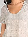 GAP Women Grey Short Sleeve Scoop Neck T-Shirt In Linen