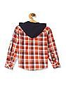 Cherokee Orange Boys Hooded Check Shirt