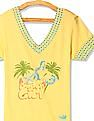 Flying Machine Women Yellow V-Neck Printed Top