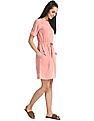 Cherokee Pink Zip Placket Fit And Flare Dress