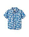 The Children's Place Toddler Boy Short Sleeve Printed Cotton Poplin Button-Down Shirt