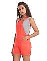Flying Machine Women Solid Sleeveless Dungarees