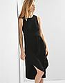 GAP Women Black Wrap-Belt Midi Dress