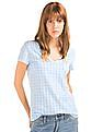 GAP Women White Vintage Wash Print V-Neck Tee