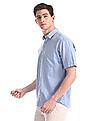 Arrow Sports Blue Patch Pocket Solid Shirt