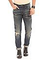 Ed Hardy Slim Straight Fit Distressed Jeans