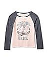 The Children's Place Girls Active Long Raglan Sleeves Lace-Up Glitter Graphic Top